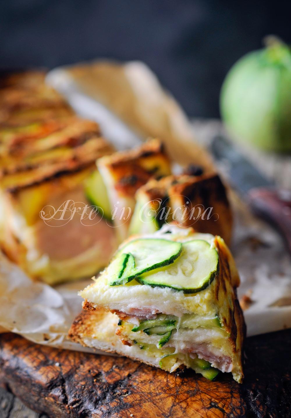 Torta di pane e zucchine con provola ricetta veloce vickyart arte in cucina