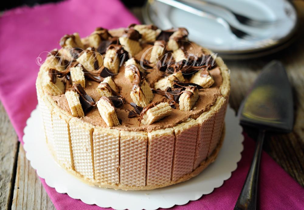 Torta wafer con crema al latte e doppio cioccolato vickyart arte in cucina