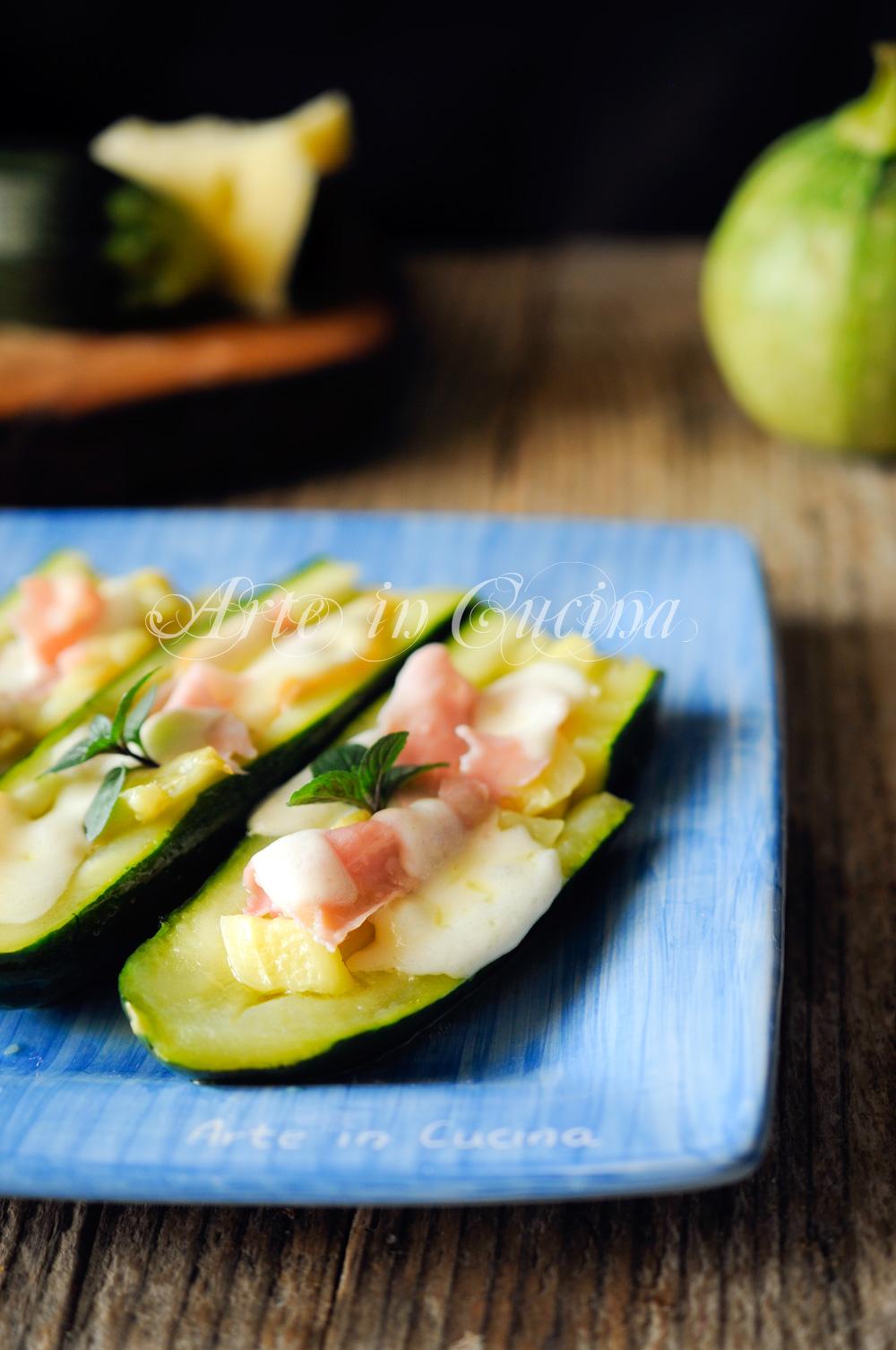 Zucchine ripiene con provola e prosciutto vickyart arte in cucina