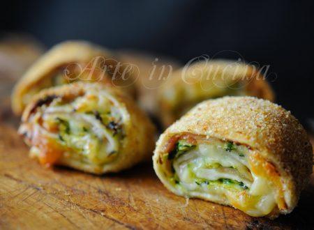 Girelle impanate con zucchine e prosciutto al forno