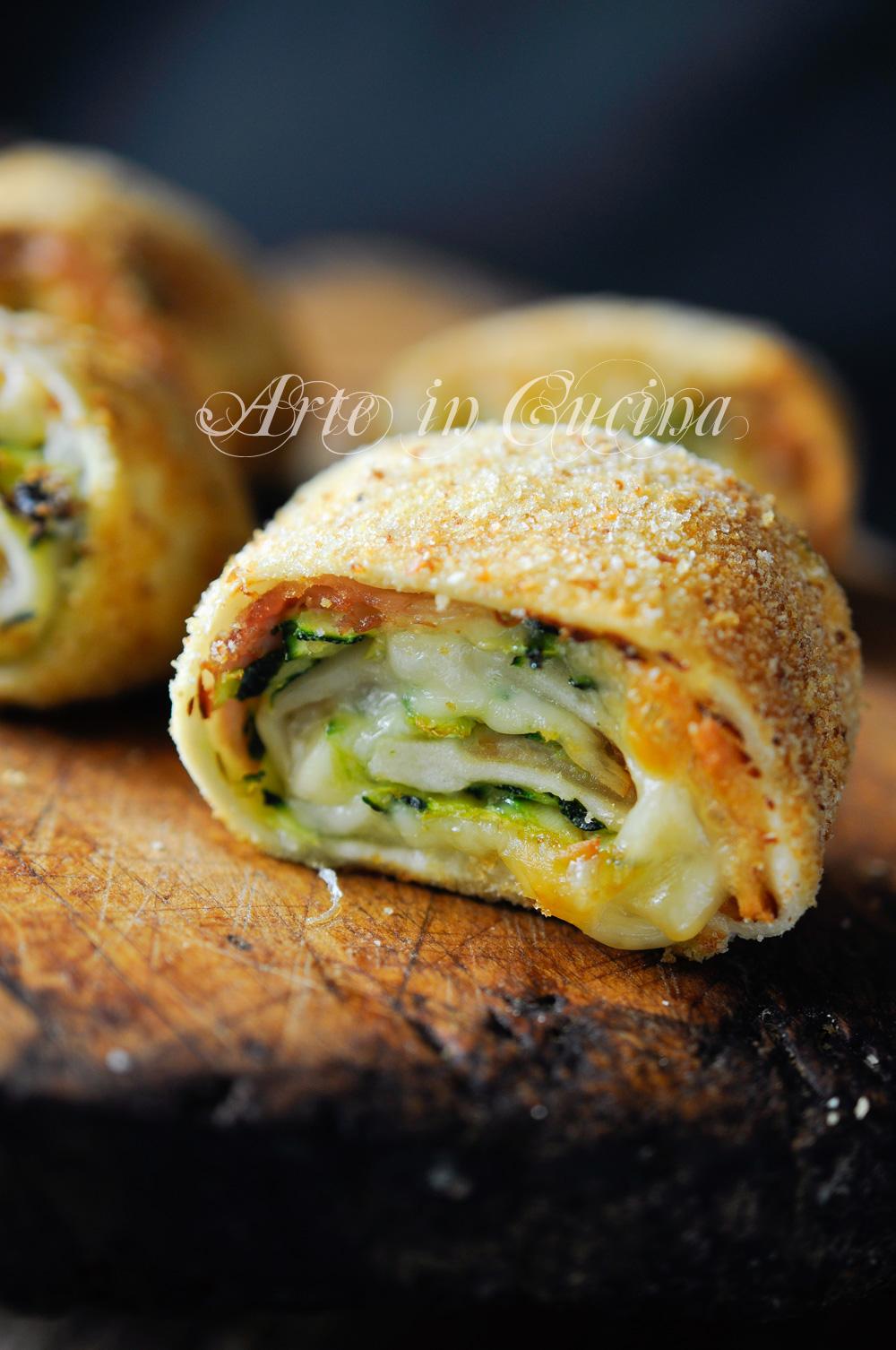 Girelle impanate con zucchine e prosciutto al forno vickyart arte in cucina