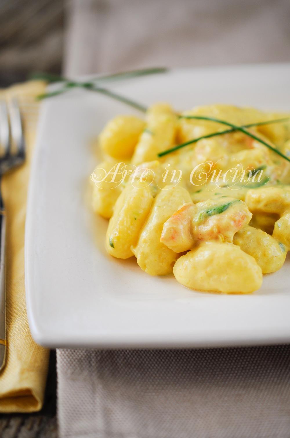 Gnocchi zucchine e gamberetti allo zafferano vickyart arte in cucina