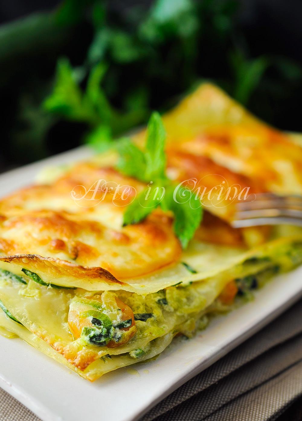 Lasagne gamberi e zucchine ricetta primo veloce vickyart arte in cucina