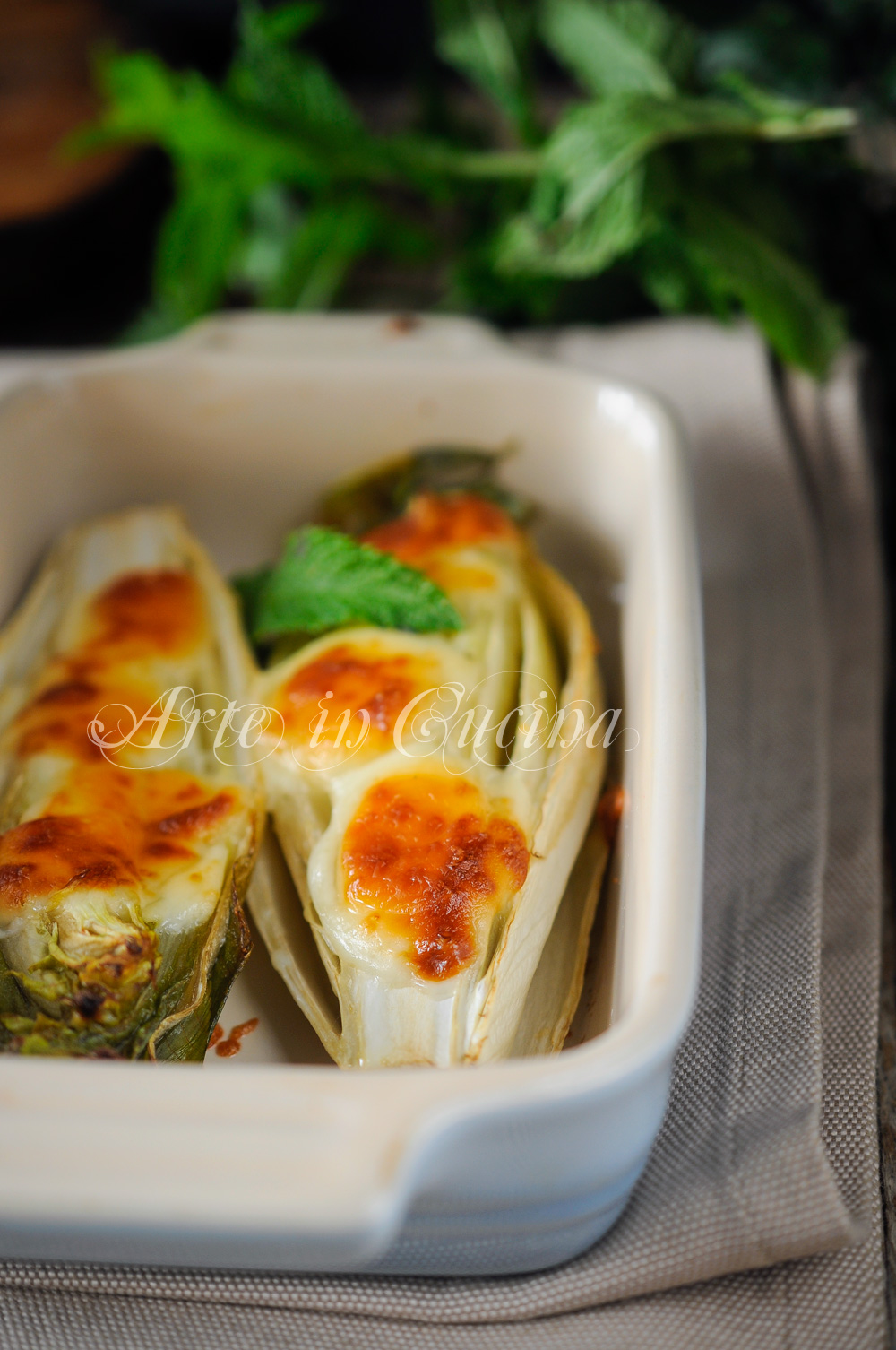 Parmigiana di indivia e formaggio gratinata al forno vickyart arte in cucina
