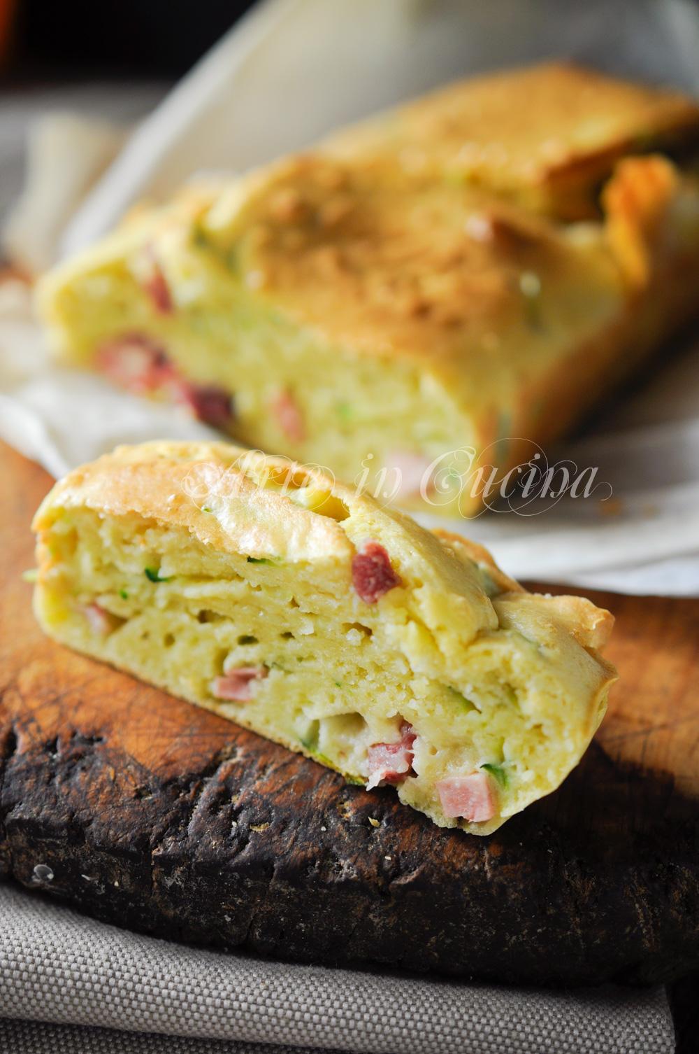 Plumcake con zucchine e salumi ricetta salata vickyart arte in cucina
