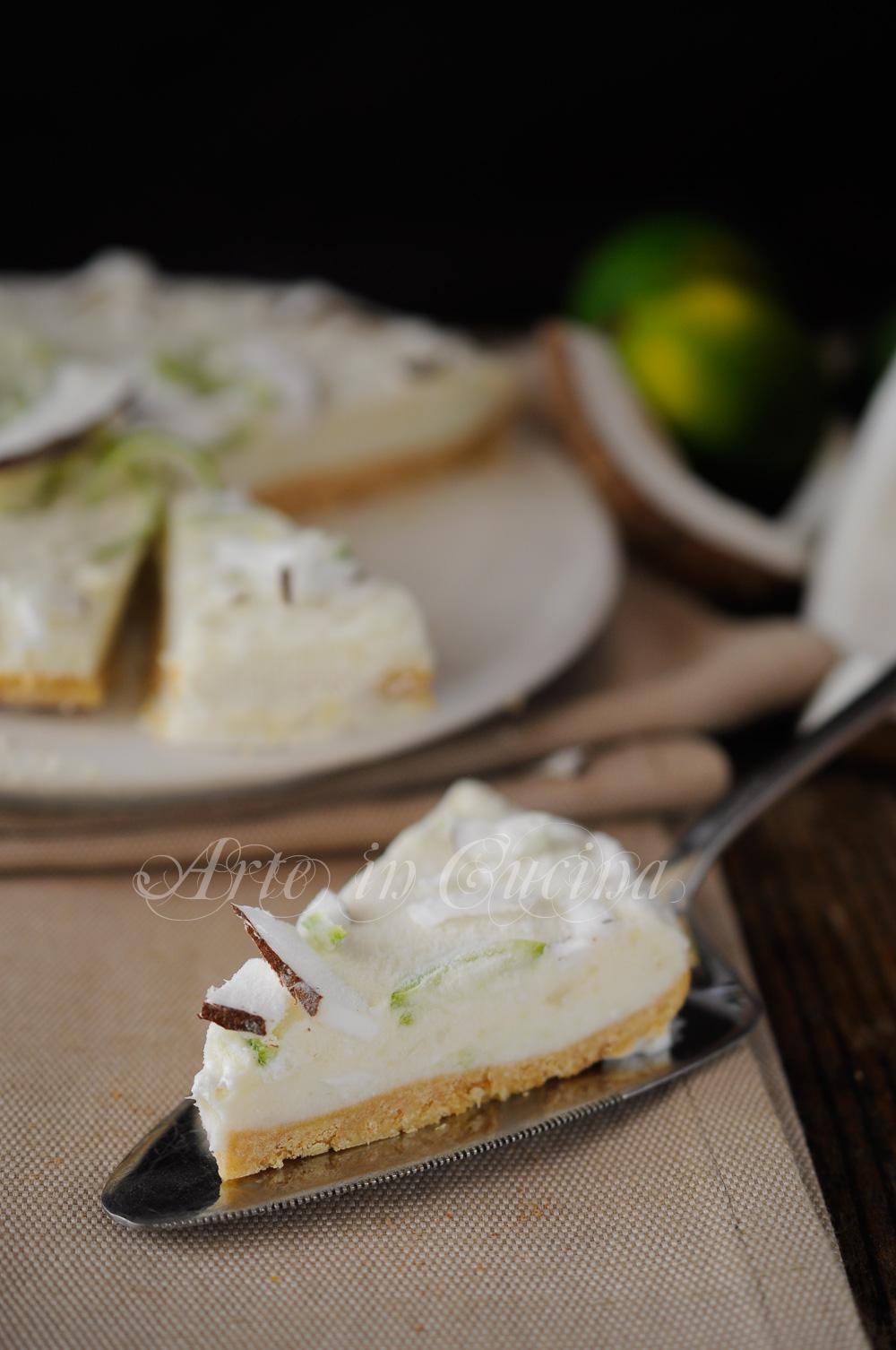 Cheesecake al cocco e lime alla ricotta dolce veloce vickyart arte in cucina