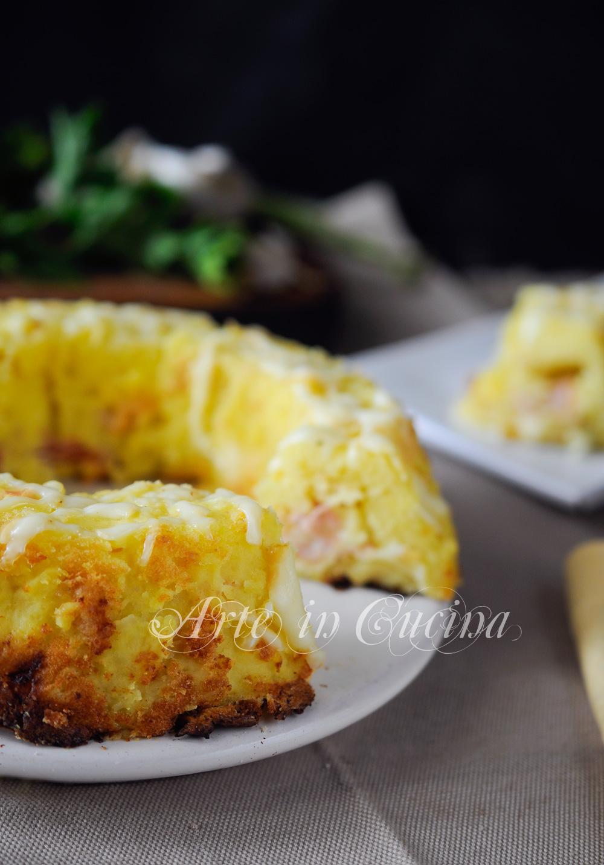 Ciambella di patate dal cuore filante e prosciutto vickyart arte in cucina