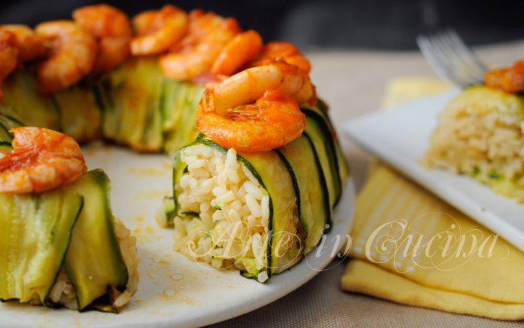 Corona di riso con zucchine seppie e gamberi