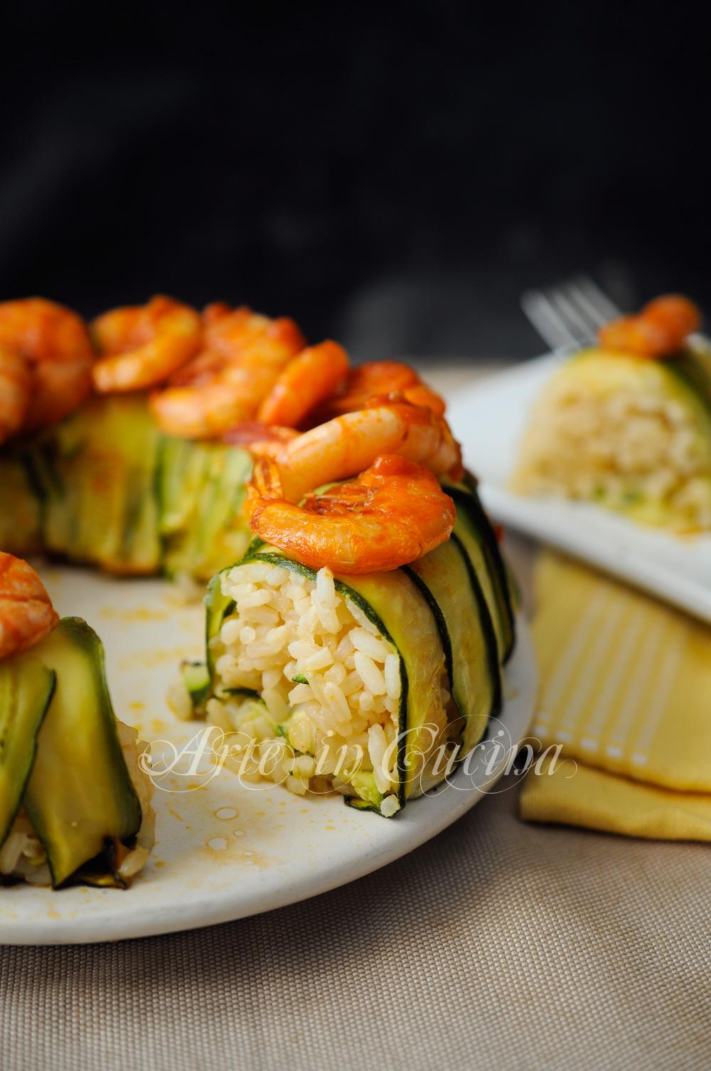 Corona di riso con zucchine seppie e gamberi vickyart arte in cucina