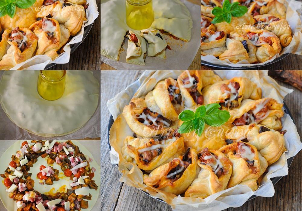 Girasole di sfoglia melanzane e formaggio vickyart arte in cucina