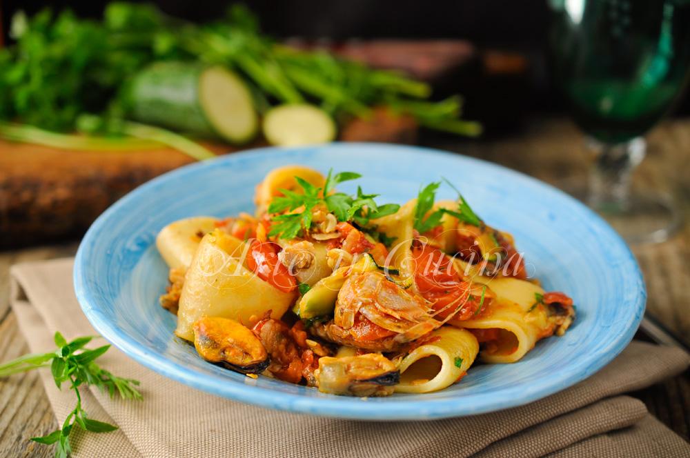 Calamarata ai frutti di mare primo piatto facile