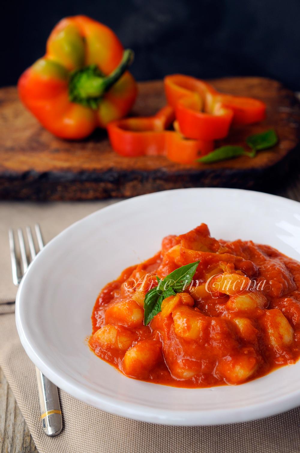 Gnocchi con crema di peperoni ricetta facile vickyart arte in cucina