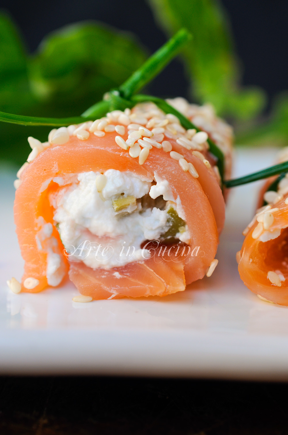 Involtini di salmone ricotta e olive freddi vickyart arte in cucina