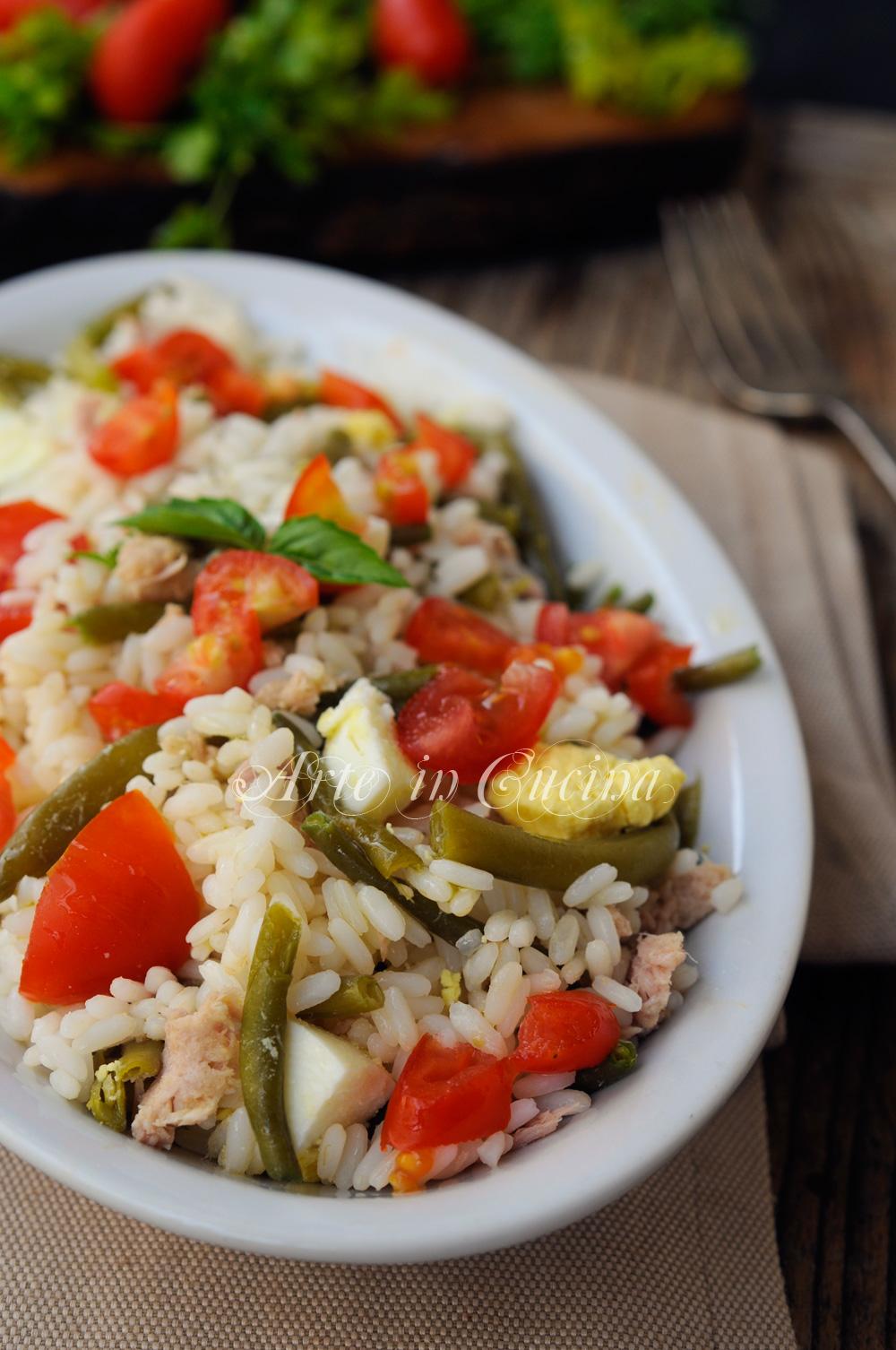 Riso con fagiolini e tonno all'insalata vickyart arte in cucina
