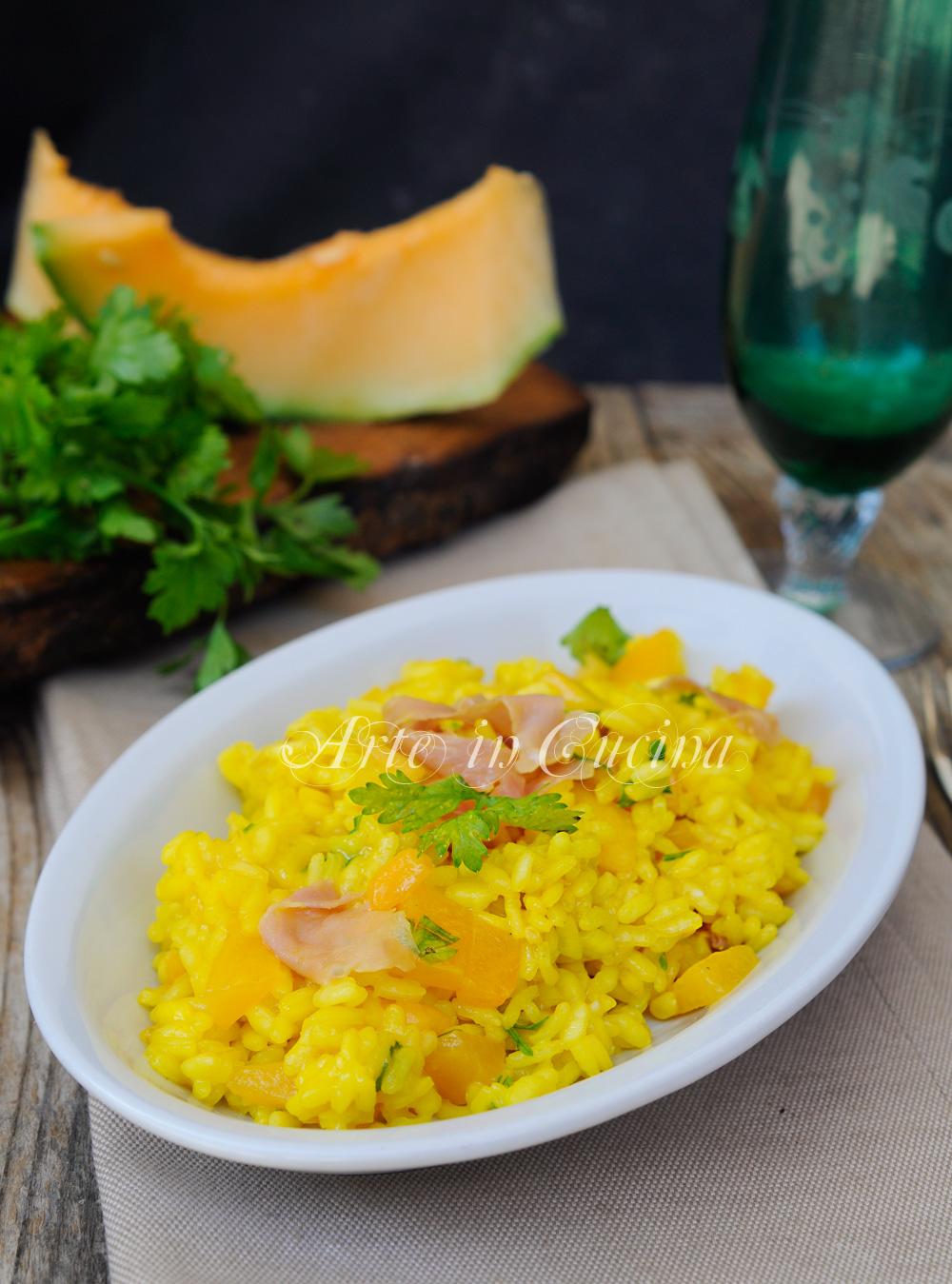 Risotto prosciutto e melone allo zafferano vickyart arte in cucina