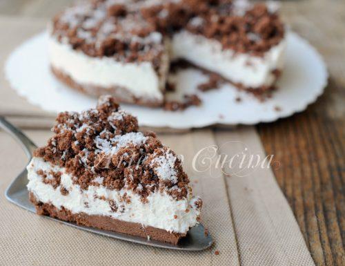 Sbriciolata cocco e ricotta al cacao torta fredda