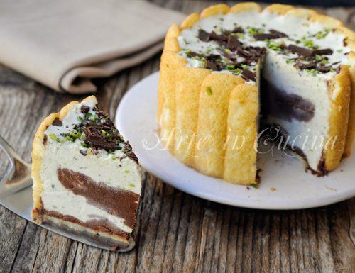 Torta fredda pistacchio e cioccolato con pavesini
