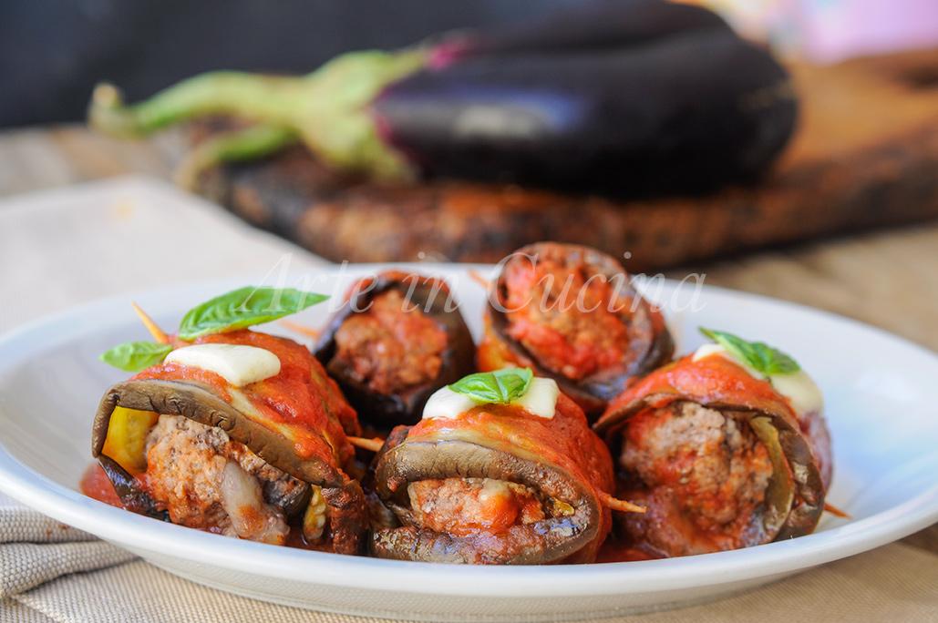 Involtini di melanzane e carne al sugo in padella vickyart arte iin cucina