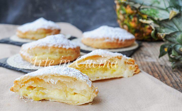 Sfogliatine all'ananas e crema pasticcera
