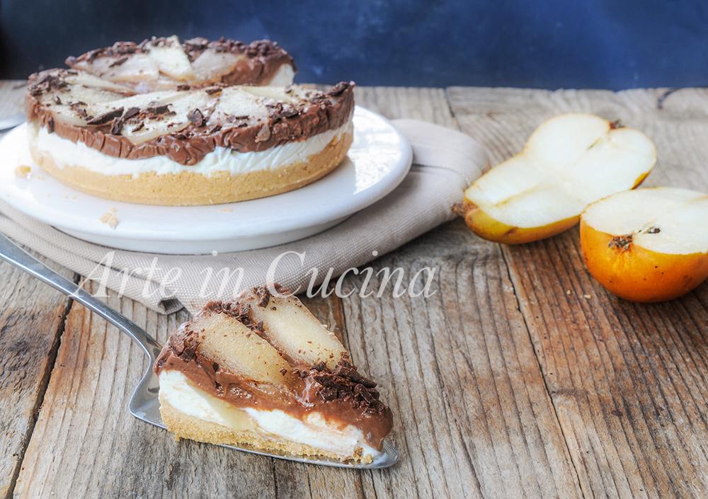 Torta di biscotti con crema pasticcera ricotta e pere vickyart arte in cucina