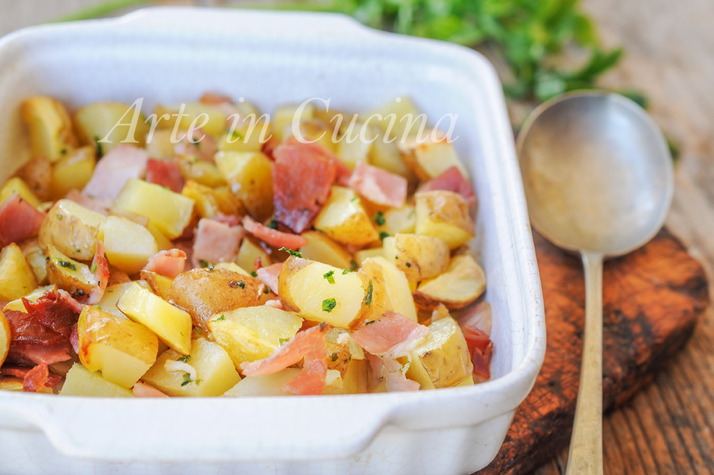 Patatine novelle con prosciutto al forno ricetta facile vickyart arte in cucina