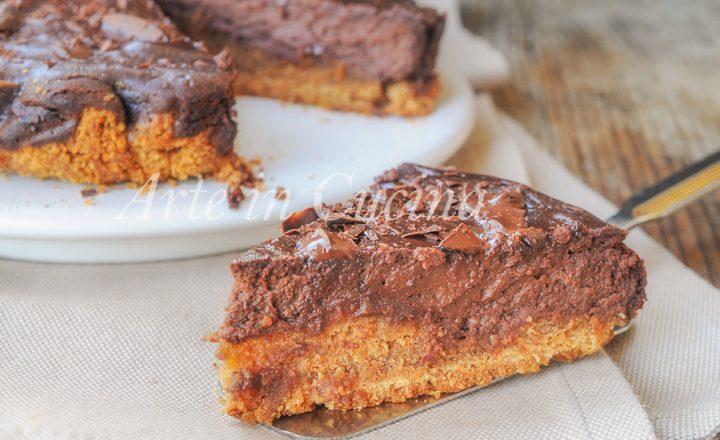 Cheesecake con cioccolato al forno dolce alla ricotta