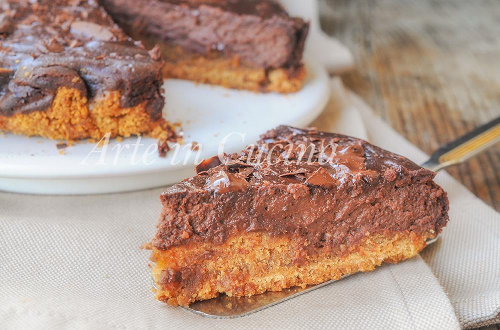 Cheesecake con cioccolato al forno dolce alla ricotta vickyart arte in cucina