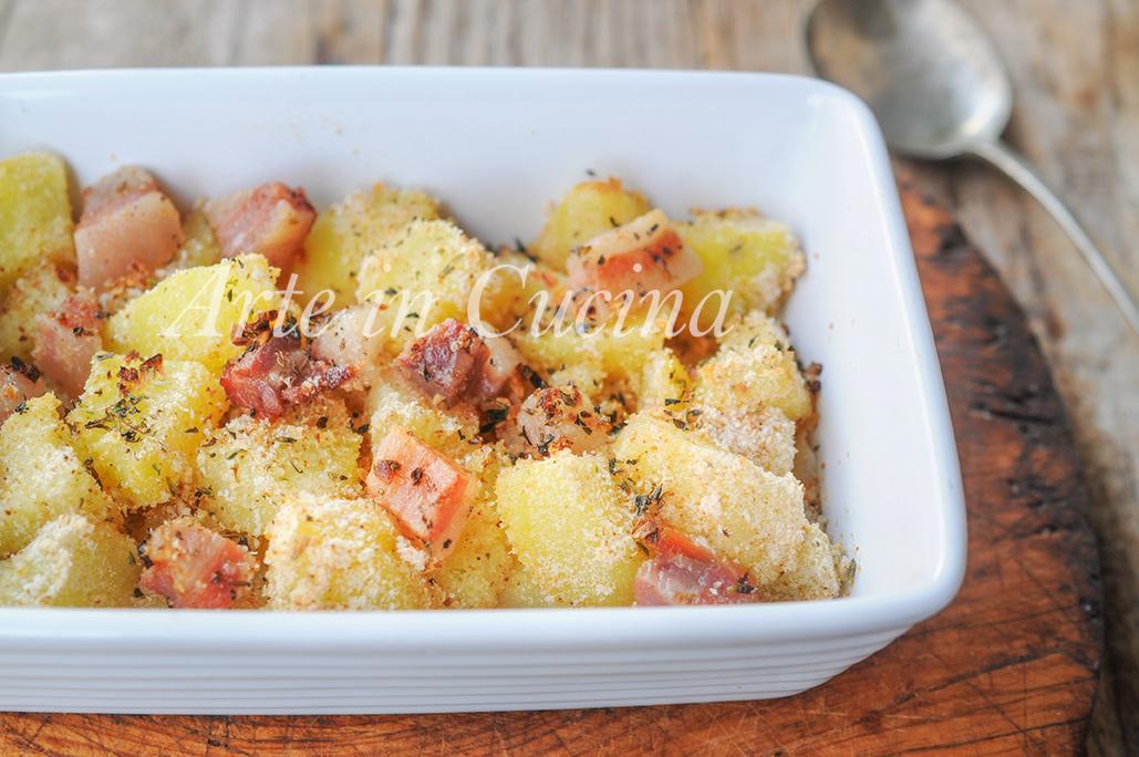 Patate con pancetta gratinate al forno ricetta facile vickyart arte in cucina