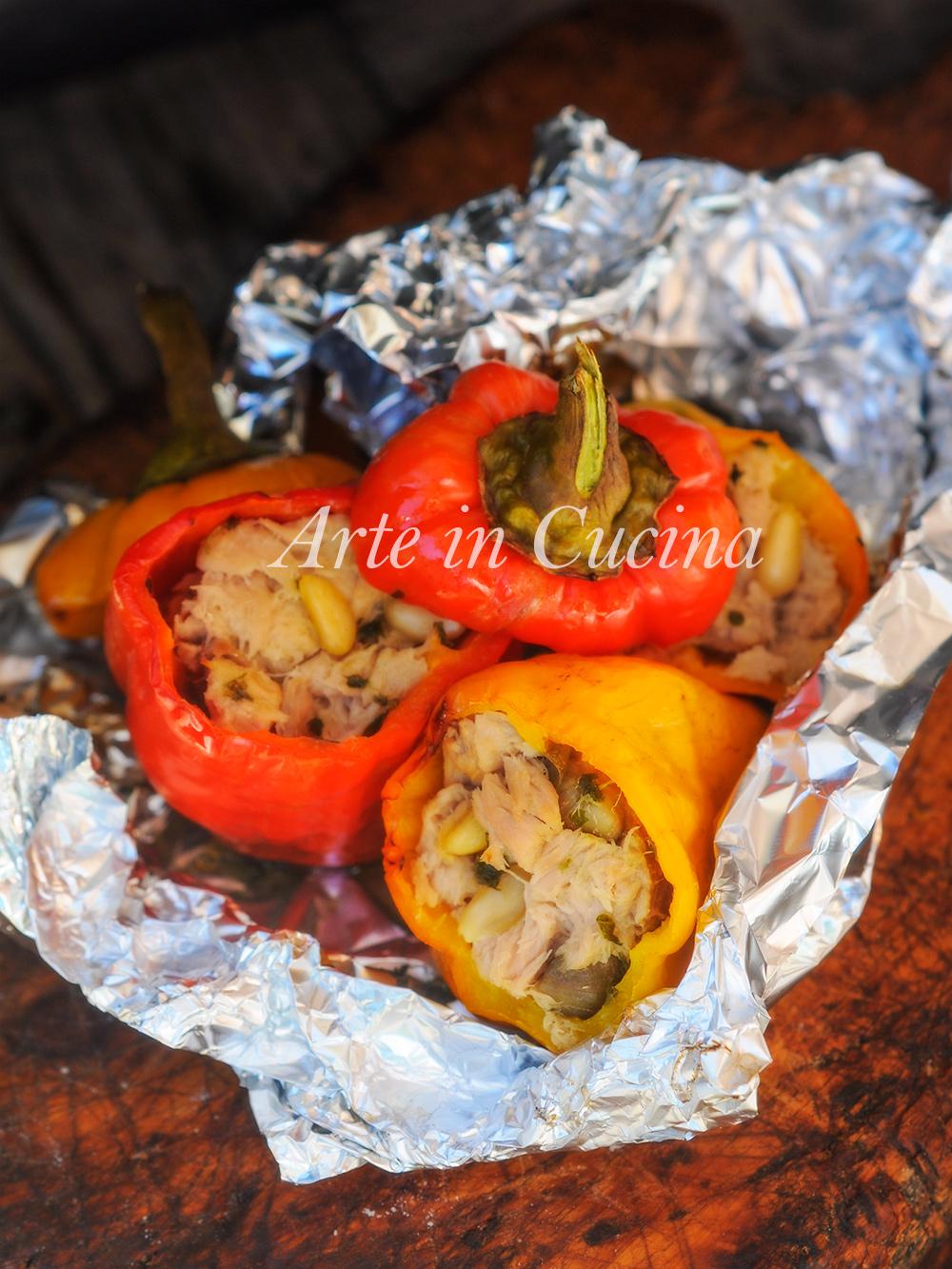 Peperoni al cartoccio ripieni di tonno ricetta veloce vickyart arte in cucina