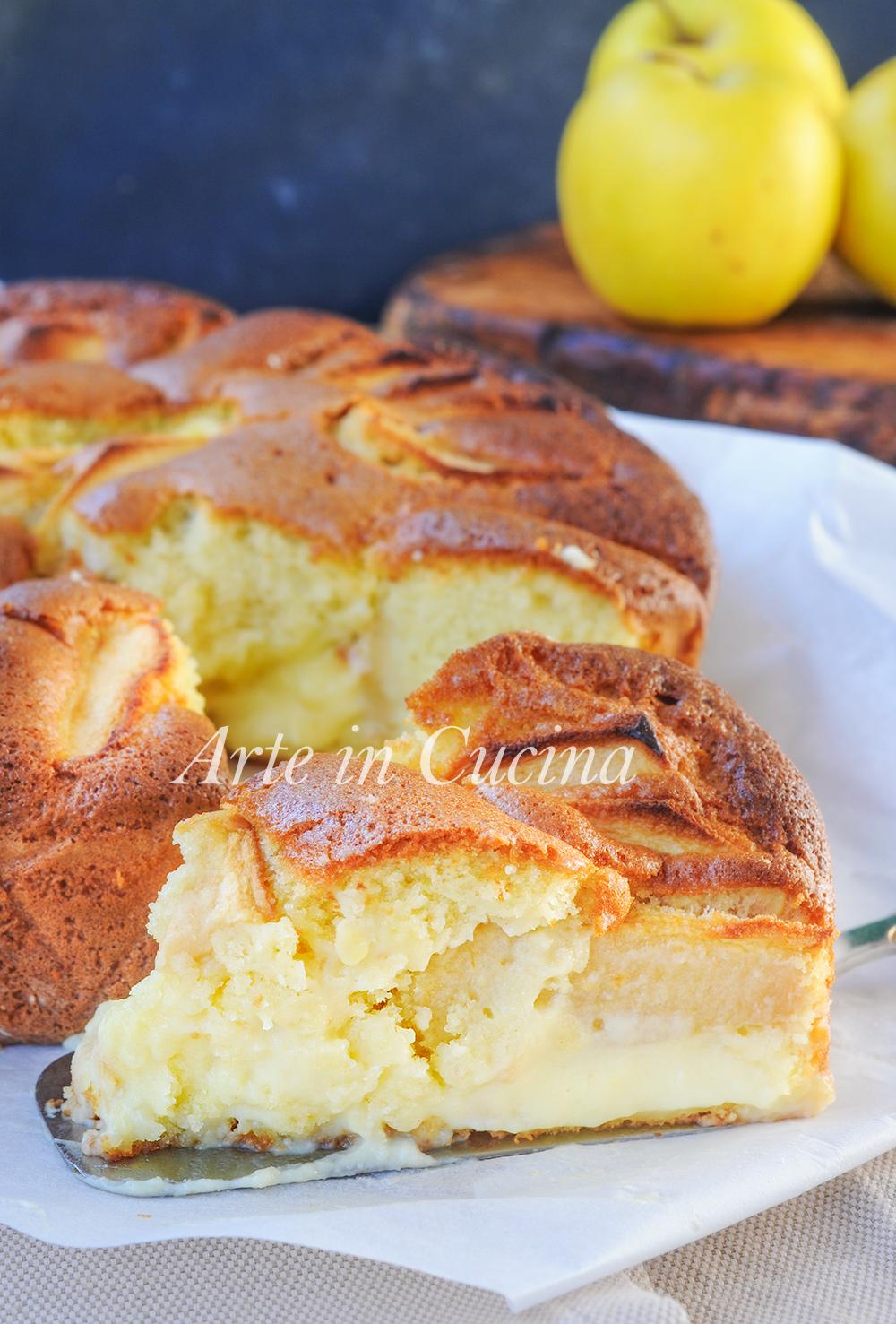 Torta nua alla crema pasticcera e mele ricetta dolce vickyart arte in cucina