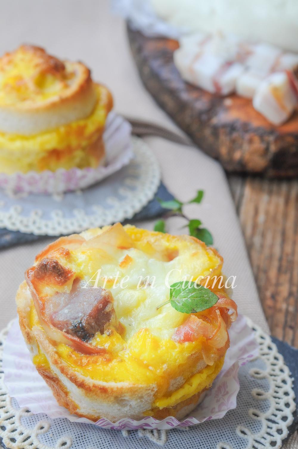 Tortini di pancarrè ripieni con pancetta cestini facili vickyart arte in cucina