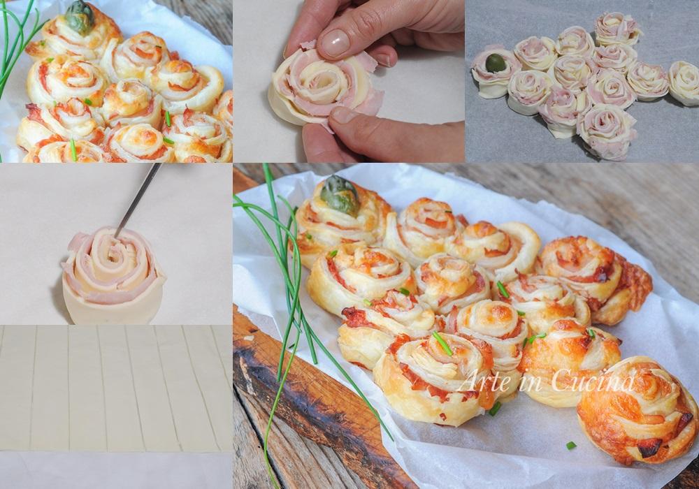 Albero di Natale con rose di sfoglia al prosciutto vickyart arte in cucina