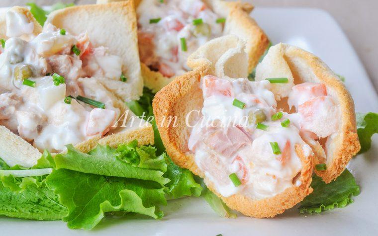 Cestini di pancarre tonno e insalata russa
