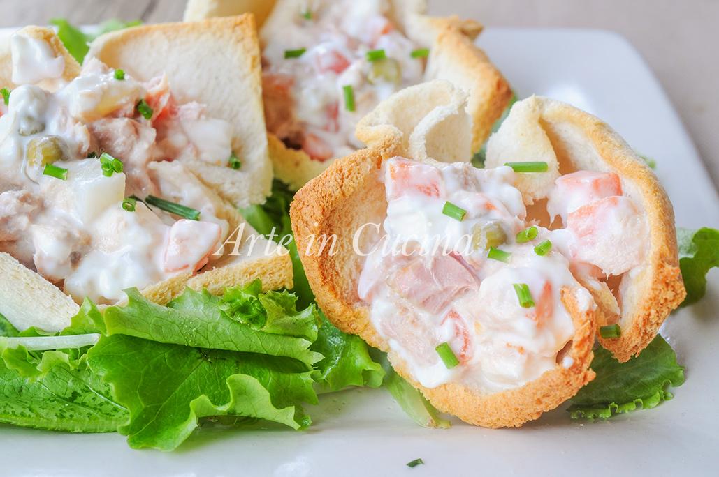 Cestini di pancarre tonno e insalata russa vickyart arte in cucina