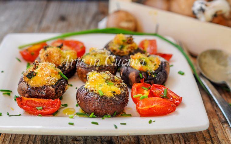 Funghi ripieni gratini al forno ricetta veloce