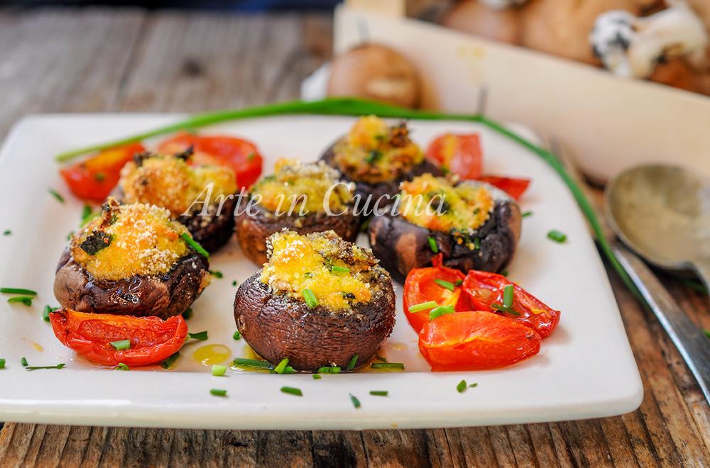 Funghi ripieni gratini al forno ricetta veloce vickyart arte in cucina