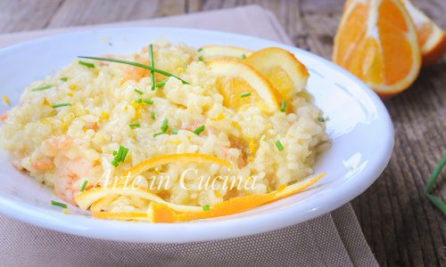 Risotto all'arancia e gamberetti ricetta facile