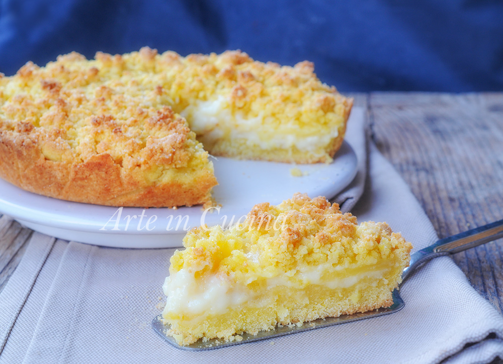 Sbriciolata all'ananas e crema pasticcera veloce vickyart arte in cucina