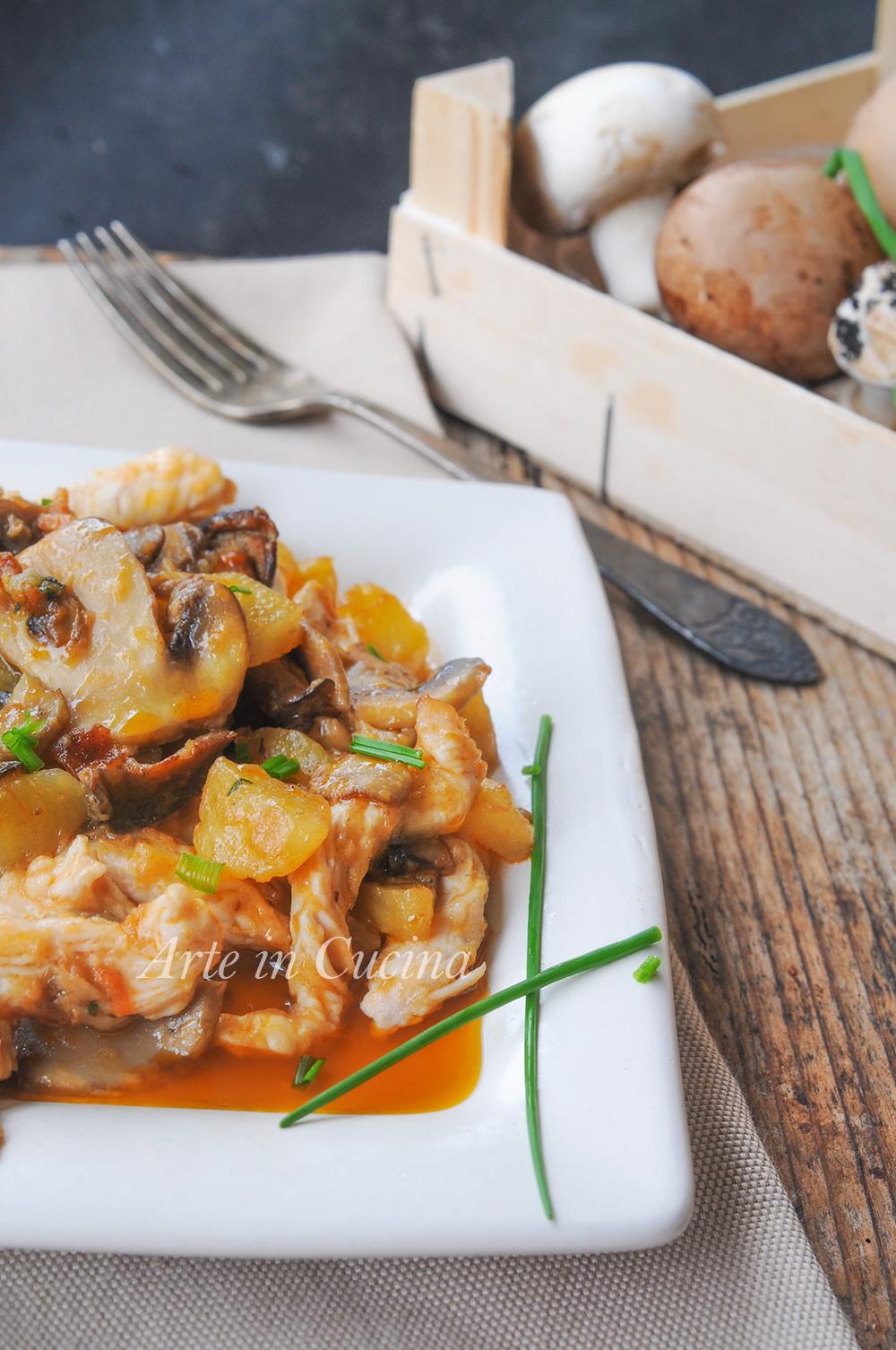 Straccetti di pollo ai funghi e patate ricetta veloce vickyart arte in cucina