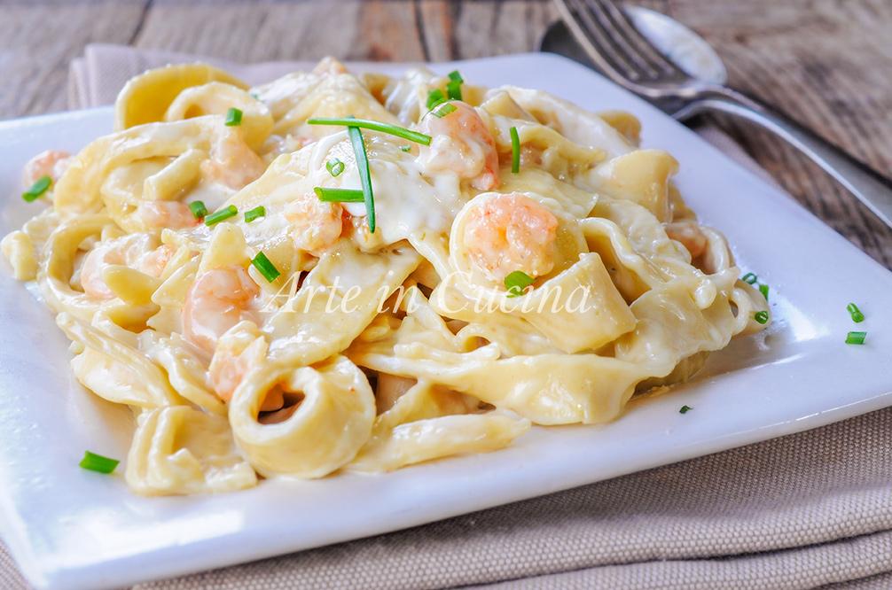 Tagliatelle gamberetti mascarpone e besciamella vickyart arte in cucina