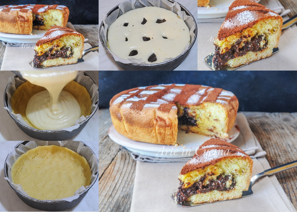 Torta di frolla e pan di spagna nutella e cioccolato vickyart arte in cucina
