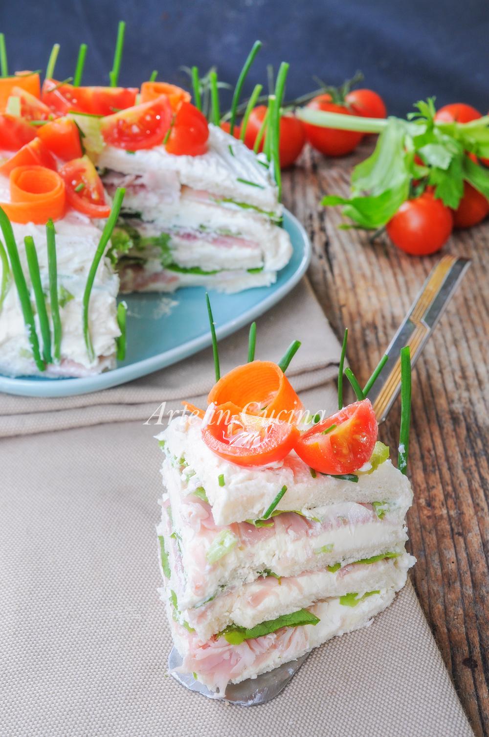 Torta tramezzino sandwich ricetta veloce antipasto vickyart arte in cucina