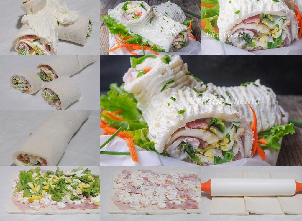 Tronchetto di Natale salato con insalata russa e prosciutto vickyart arte in cucina
