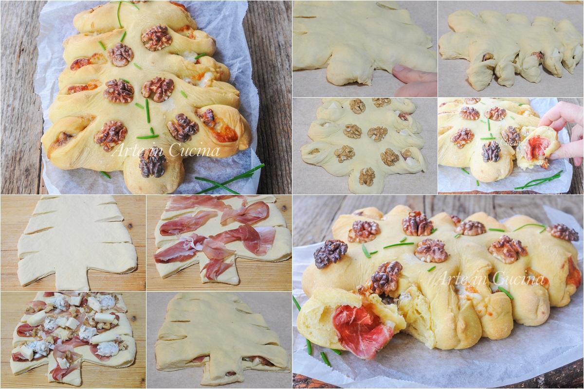 Albero salato di pan brioche speck e gorgonzola bimby o senza vickyart arte in cucina