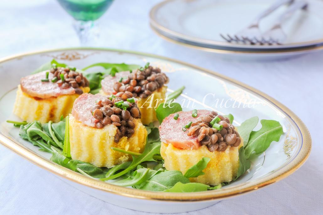 Crostini di polenta cotechino e lenticchie vickyart arte in cucina