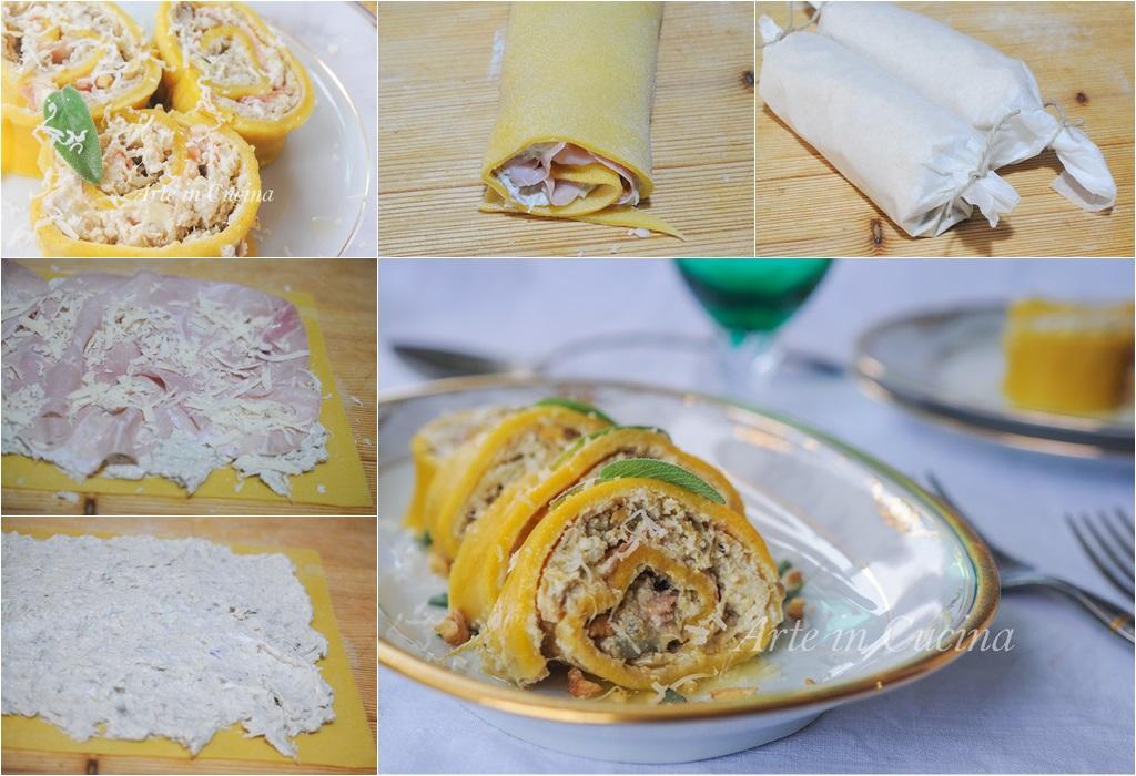 Rotolo di pasta ai carciofi e noci primo facile vickyart arte in cucina