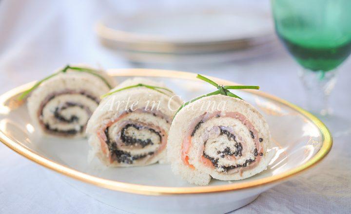 Tartine caviale e salmone con maionese girelle veloci