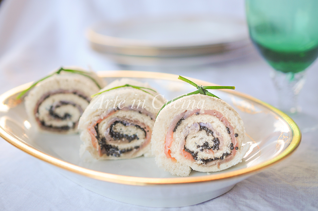 Tartine caviale e salmone con maionese girelle veloci vickyart arte in cucina