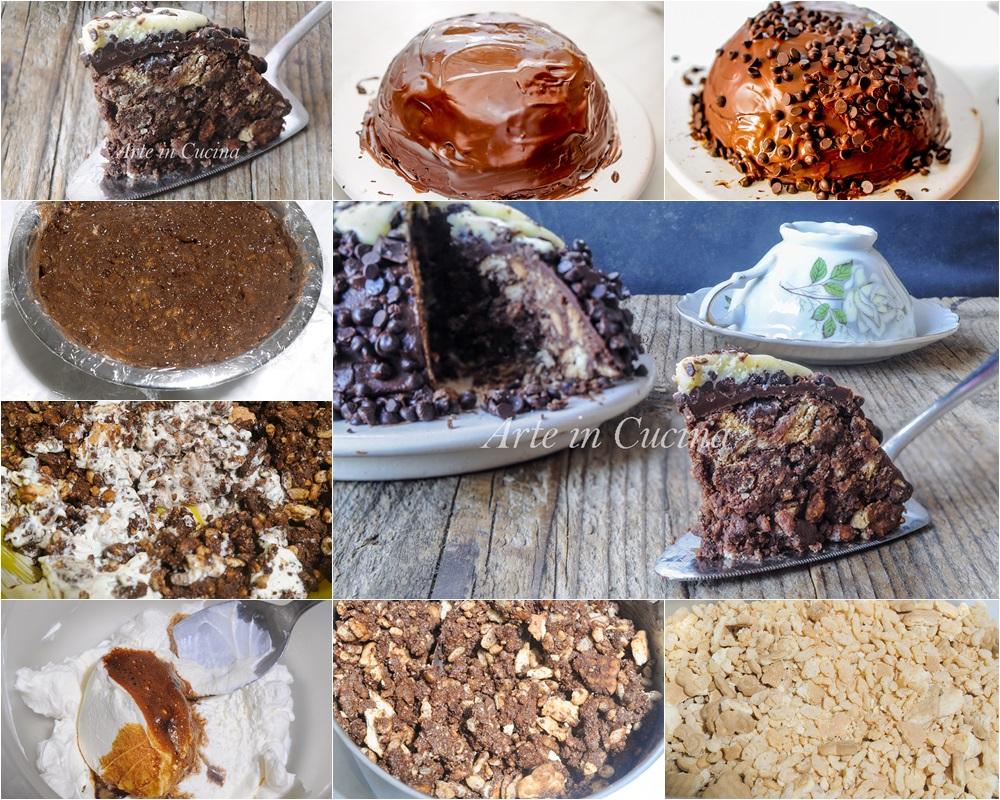 Zuccotto di biscotti alla nutella e riso soffiato vickyart arte in cucina