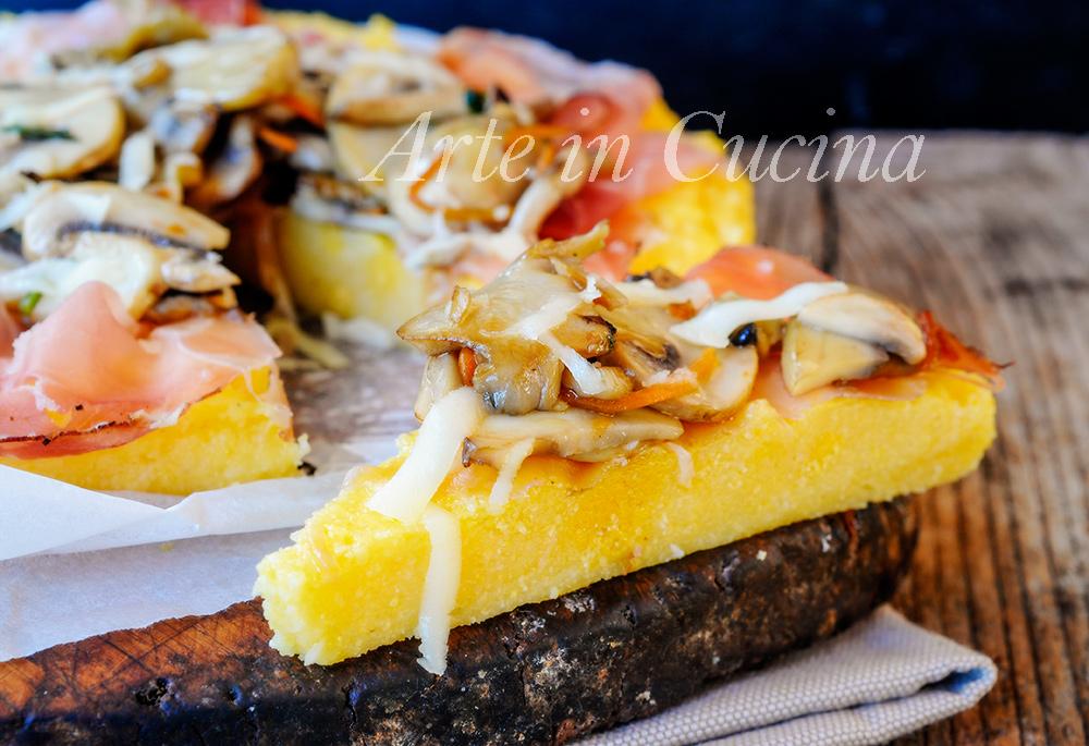 Crostata di polenta speck e funghi ricetta facile vickyart arte in cucina